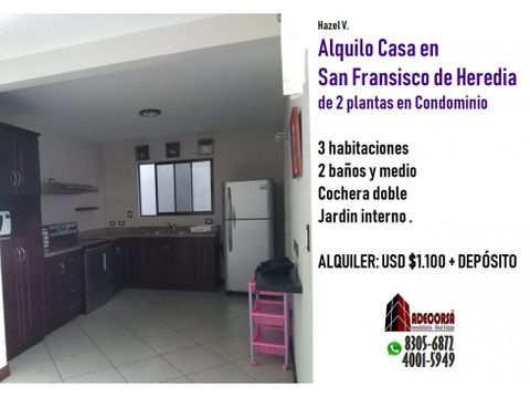 casa en condominio san francisco heredia