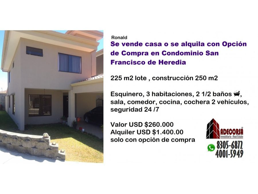 casa en condominio en san francisco de heredia
