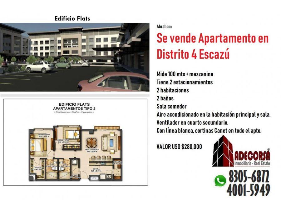 apartamento de lujo en distrito cuatro escazu