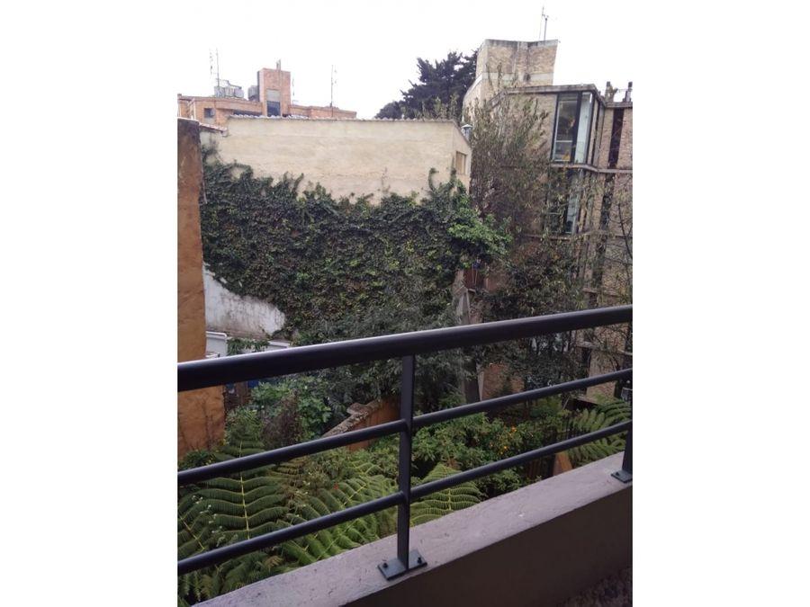 apartaestudio interior con vista a jardin en chapinero alto