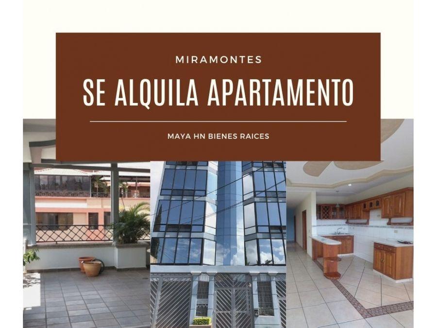 se alquila apartamento en colonia miramontes