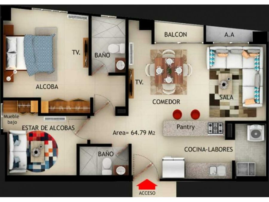 exclusivo apartaestudio en venta